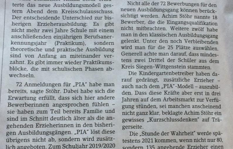 """Presse: 72 Bewerbungen für """"PIA"""""""