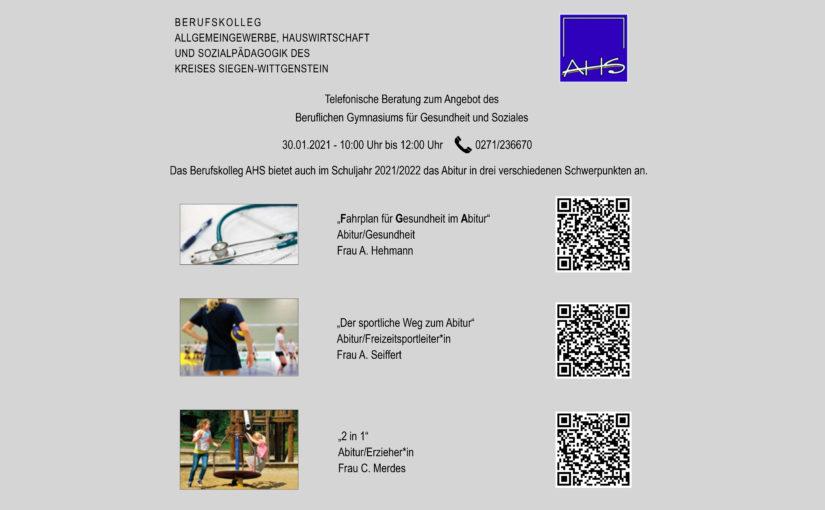Bildungsberatung des Beruflichen Gymnasiums am  30.01.2021
